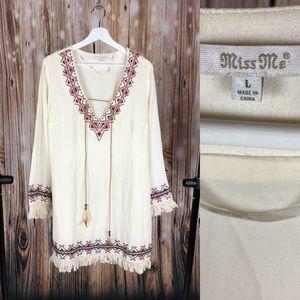 d27f4d3f9867 Miss Me Dresses -  MISS ME  Embroidered Fringe DRESS (Cream)
